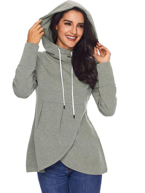 Overlap Pullover Drawstring Hoodie - GRAY L