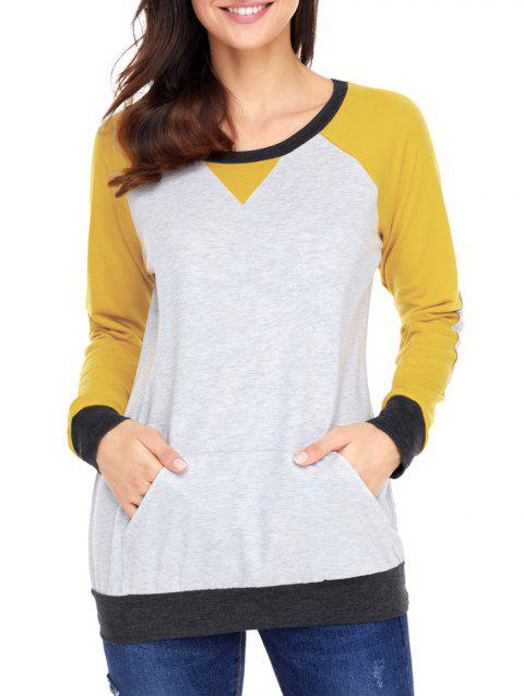 Kangaroo Pocket Color Block Elbow Patch Sweatshirt - YELLOW S