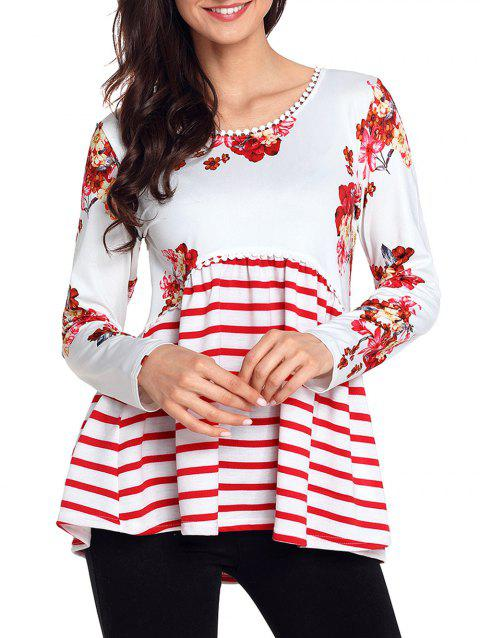 Trimmed Floral and Striped Tunic Top - WHITE L