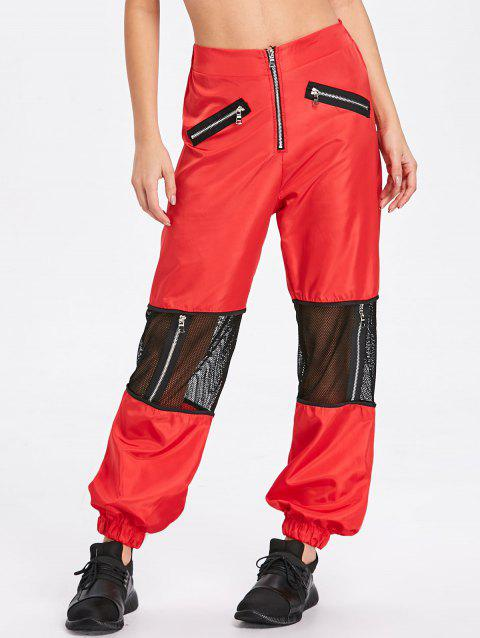 Zipper Fly Mesh Trim Pants - RED S