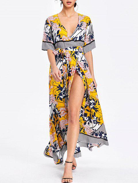 Bohemian Printed Maxi Surplice Slit Dress - YELLOW M