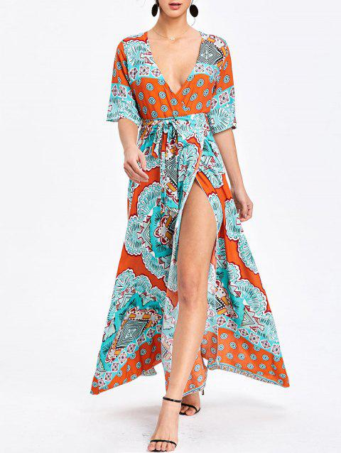 Bohemian Printed Maxi Surplice Slit Dress - ORANGE L