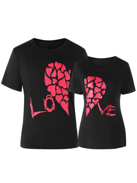 Valentines Day Heart Printed Matching Couple Short Sleeve T-shirt - BLACK MEN M