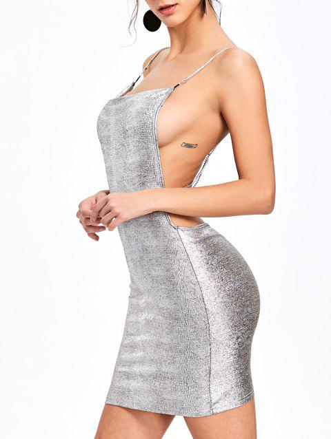 Open Back Criss Cross Bodycon Dress - SILVER S