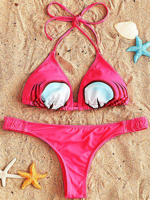 Ensemble Bikini à Col Halter - Rouge Rose 2XL