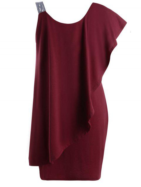 Plus Size Flounce One Shoulder Mini Dress - WINE RED XL