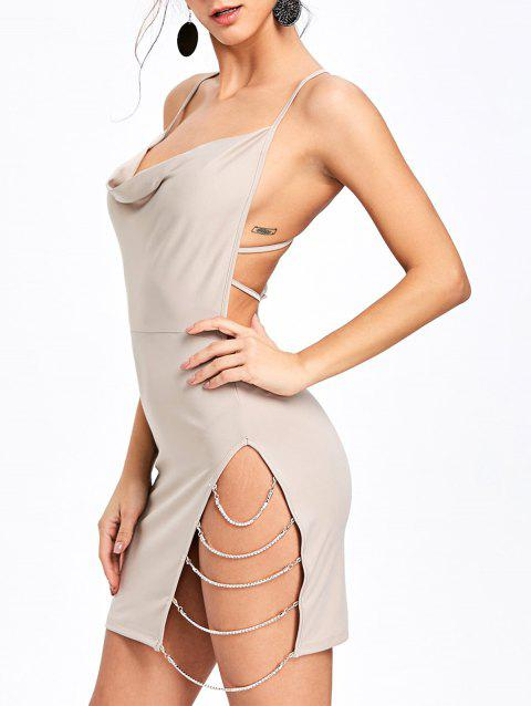 Chains Detail Open Back Club Dress - LIGHT BEIGE S