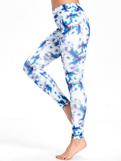 Tie Dyed Print High Waist Workout Leggings - COLORMIX M