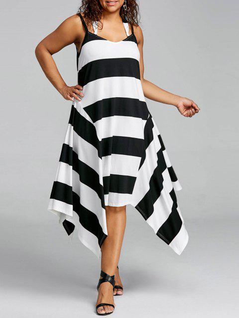 Plus Size Striped Handkerchief Slip Dress - BLACK STRIPE 2XL