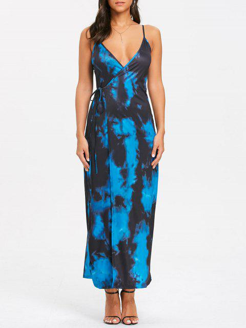 Spaghetti Strap Tie Dyed Printed Maxi Wrap Dress - COLORMIX XL