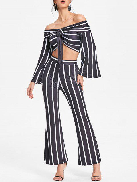 Stripe Wide Leg Pants and Crop Top - BLACK XL