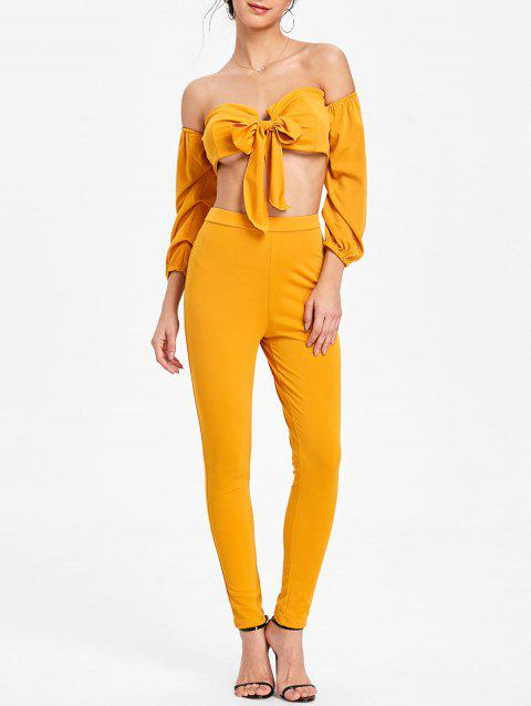 Skinny Pants and Tie Up Crop Top - MUSTARD L