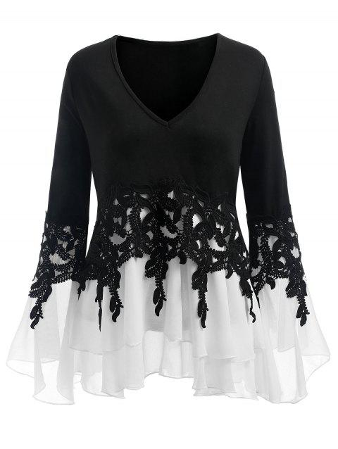 Plus Size Applique Flowy V-neck Blouse - WHITE/BLACK 5XL