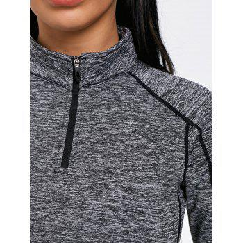Sports Contrast High Neck Half Zip T-shirt - GRAY L
