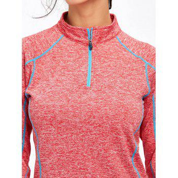 Sports Contrast High Neck Half Zip T-shirt - DEEP PINK M