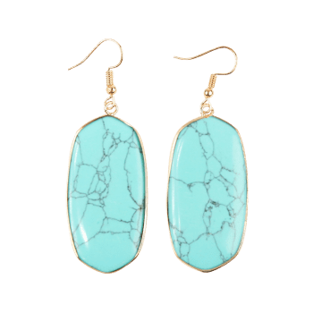 Artificial Gemstone Dangle Drop Earrings - LIGHT BLUE