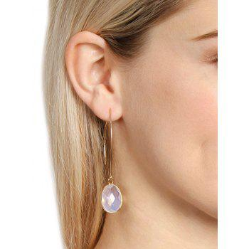 Artificial Gemstone Fishhook Drop Earrings - WHITE
