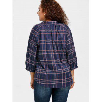 Plaid Raglan Sleeve Plus Size Blouse - CADETBLUE CADETBLUE