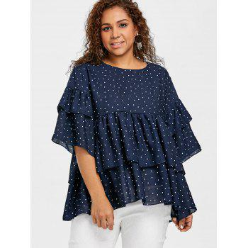 Polka Dot Tiered Flounce Plus Size Blouse - CADETBLUE 4XL