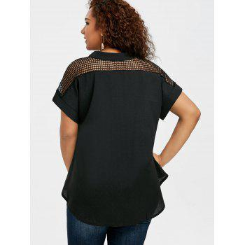 Crochet High Low Plus Size Blouse - BLACK 4XL