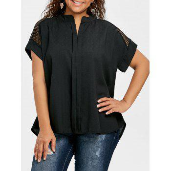 Crochet High Low Plus Size Blouse - BLACK BLACK