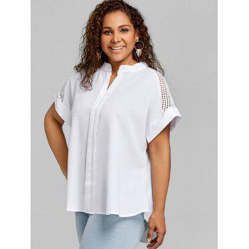 Crochet High Low Plus Size Blouse - WHITE 5XL