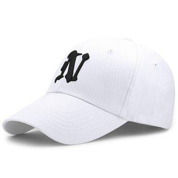 Simple N Pattern Embroidery Adjustable Baseball Cap - WHITE WHITE