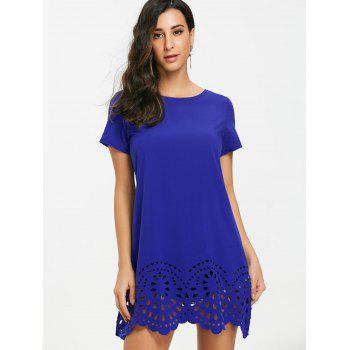 Short Sleeve Hollow Out Hemline Tee Dress - BLUE XL