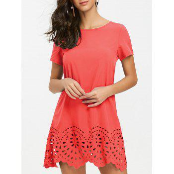 Short Sleeve Hollow Out Hemline Tee Dress - WATERMELON RED WATERMELON RED