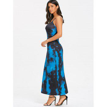 Spaghetti Strap Tie Dyed Printed Maxi Wrap Dress - COLORMIX COLORMIX