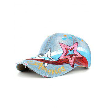 Unique Star Pattern Embellished Hand Drawing Baseball Cap - #02