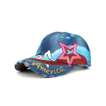 Unique Star Pattern Embellished Hand Drawing Baseball Cap - #03