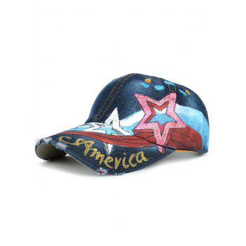 Unique Star Pattern Embellished Hand Drawing Baseball Cap - #05