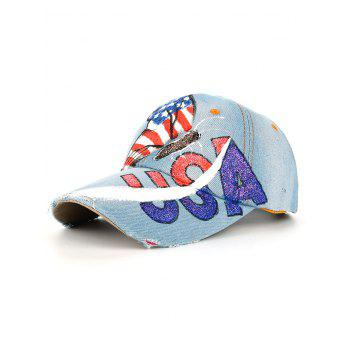 Unique Hand Drawing Butterfly USA Flag Baseball Cap - #02