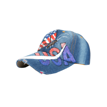 Unique Hand Drawing Butterfly USA Flag Baseball Cap -