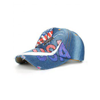 Unique Hand Drawing Butterfly USA Flag Baseball Cap - #03