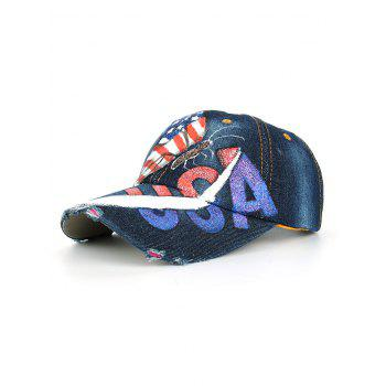 Unique Hand Drawing Butterfly USA Flag Baseball Cap - #05