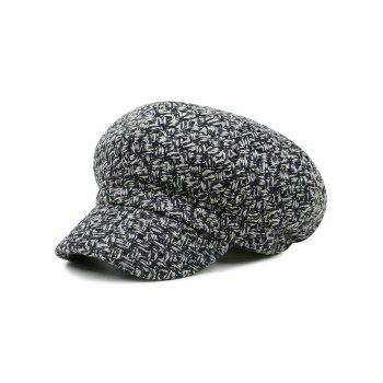 Retro Checked Pattern Knitted Beret Hat - BLACK AND GRAY BLACK/GRAY
