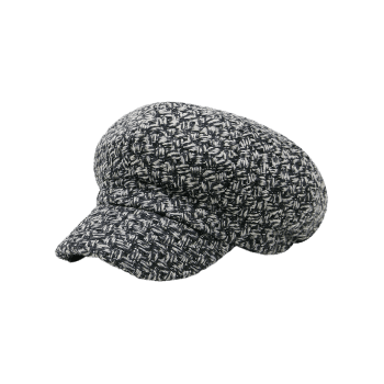 Retro Checked Pattern Knitted Beret Hat - BLACK/GRAY
