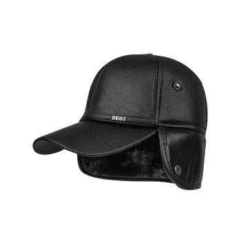 Winter PU Leather Earmuffs Thicken Baseball Hat - BLACK