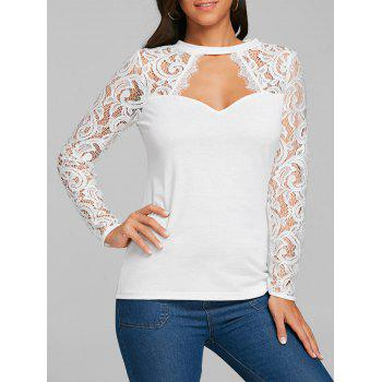 Cut Out Lace Panel Long Sleeve T-shirt