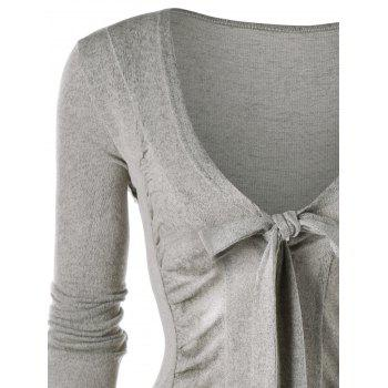 Ruched Tie Up Asymmetric Cardigan - GRAY L