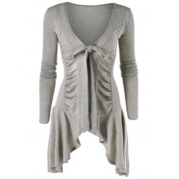Ruched Tie Up Asymmetric Cardigan - GRAY GRAY