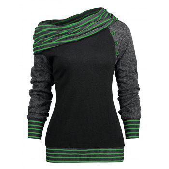 Stripe Trim Raglan Sleeve Skew Neck T-shirt