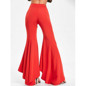 High Waist Bell Bottom Pants - RED RED