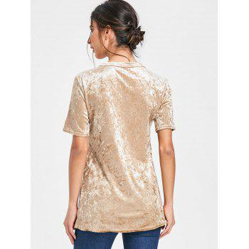 Low Cut Velvet Lace Up T-shirt - GOLDEN M