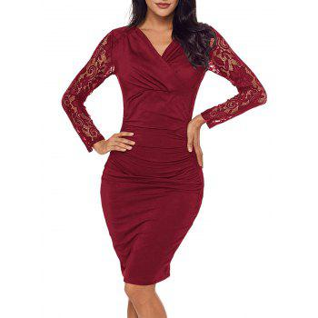 Lace Panel Surplice Neck Bodycon Dress - BURGUNDY BURGUNDY