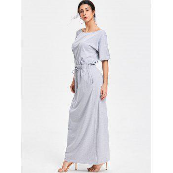 Casual Maxi Drawstring Dress - GRAY GRAY