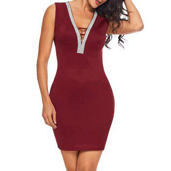 Backless Rhinestone Bodycon Mini Dress - BURGUNDY BURGUNDY