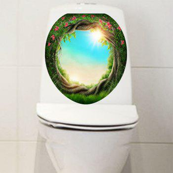 Tree Hole Sunlight Sky Print Decorative Toilet Sticker - BLUE GREEN 12.6*15.4 INCH